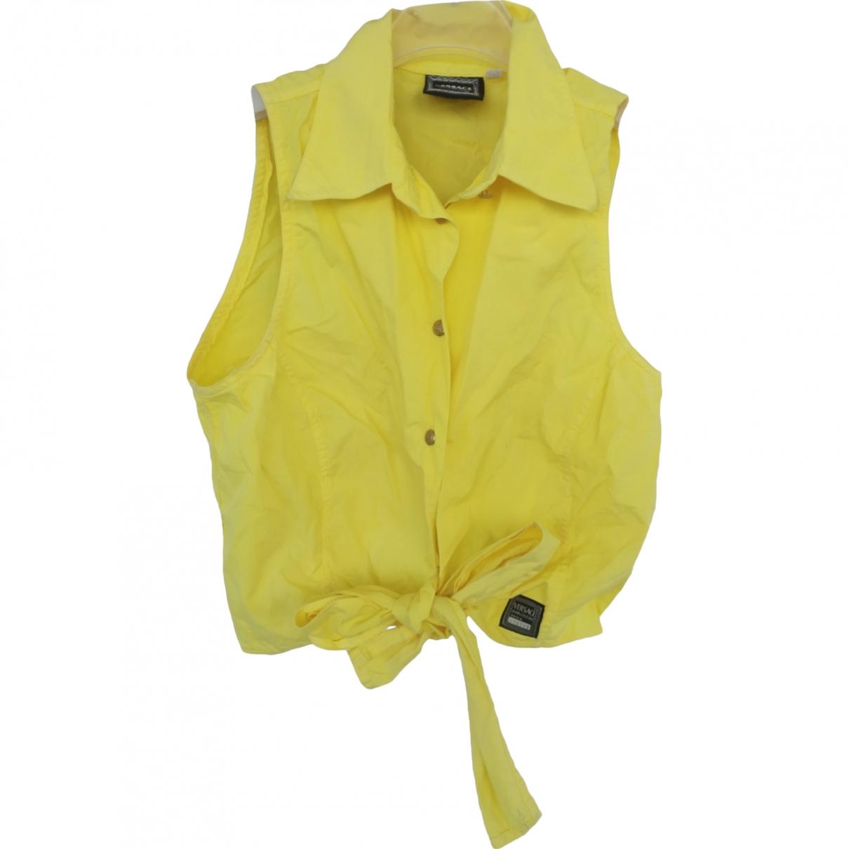 Versace Jean - Top   pour femme en coton - jaune