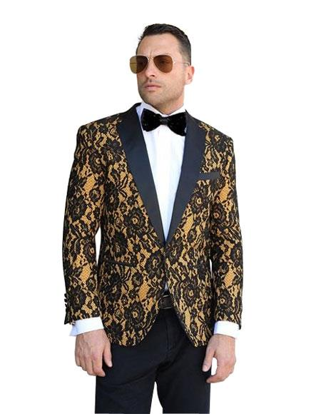 Mens 1Button Floral Pattern Paisley Dinner Jacket Tuxedo Gold Blazer