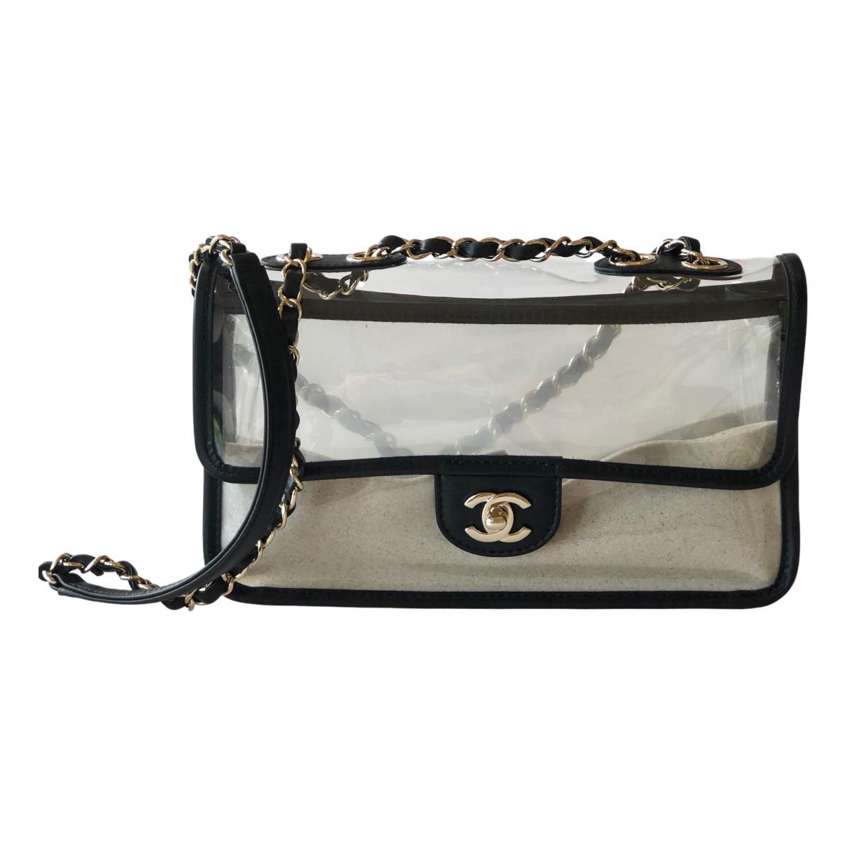 Chanel Timeless/Classique Handtasche in  Beige Kunststoff