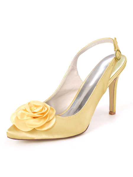 Milanoo Wedding Shoes Ivory Satin Flowers Pointed Toe Stiletto Heel Bridal Shoes