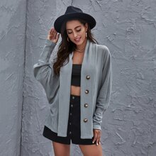 Solid Batwing Sleeve Button Front Waffle Coat