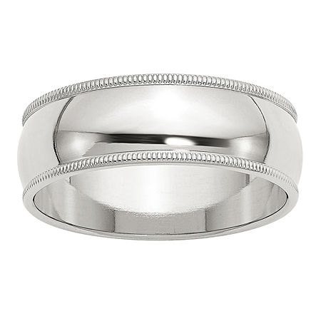 Womens Sterling Silver Milgrain Half Round Wedding Band, 6 , No Color Family