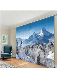 Wonderful Horse in Snow Mountain 3D Printing Polyester Curtain