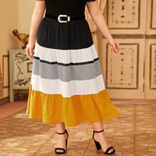 Plus Striped Panel Colorblock Skirt Without Belt