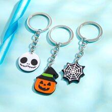 3 piezas llavero con diseño de calabaza de Halloween