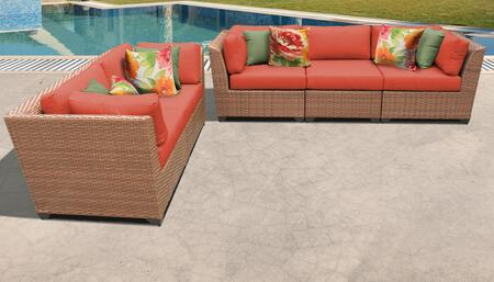 Laguna Collection LAGUNA-05a-TANGERINE 5-Piece Patio Set with 4 Corner Chairs and 1 Armless Chair - Wheat and Tangerine