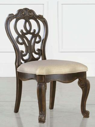 Bordeaux Collection BR200-S Side Chair with Tufted Back and Distressed Finish in Espresso Oak