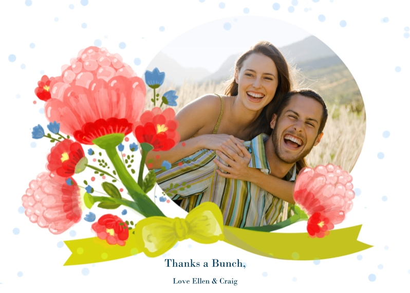 Thank You Cards 5x7 Cards, Premium Cardstock 120lb with Rounded Corners, Card & Stationery -Thanks a Bunch Photo