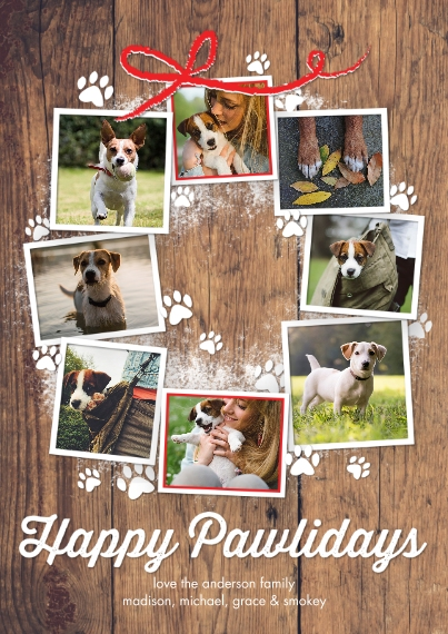 Holiday Photo Cards 5x7 Cards, Premium Cardstock 120lb with Rounded Corners, Card & Stationery -Holiday Happy Pawlidays Wreath by Tumbalina