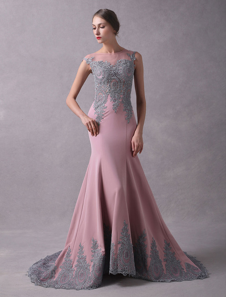 Milanoo Evening Dresses Mermaid Cameo Pink Lace Beaded Bateau Sleeveless Illusion Formal Dresses With Train