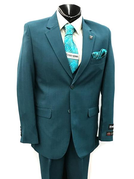 Mens Two Button Single Breasted Teal Suit