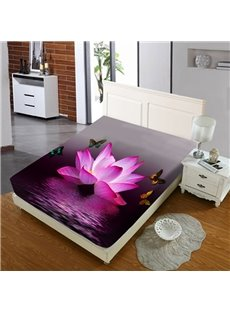 Pink Lotus Flowers on The Lake Reactive Printing 1-Piece Polyester Bed Cover / Mattress Cover