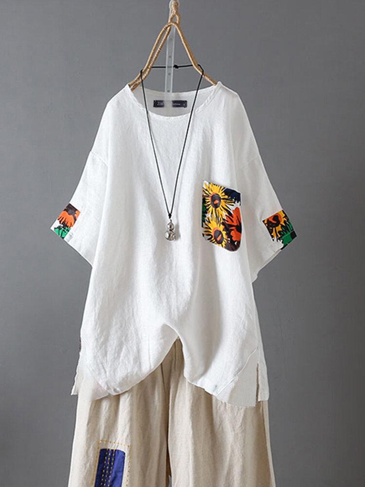 Casual Print Pocket O-neck Plus Size T-shirt