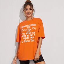 Neon orange T-Shirt mit Buchstaben Muster