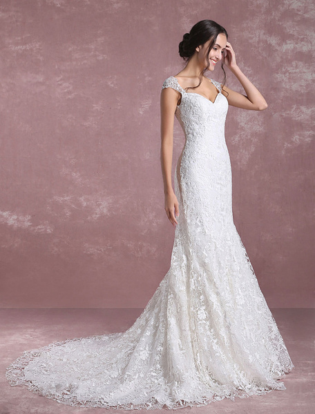Milanoo Summer Wedding Dresses 2020 Lace Mermaid Bridal Dress Ivory Sweetheart Anne Sequined Bridal Gown With Cathedral Train