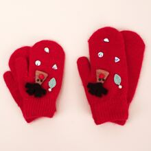 2pairs Parent Baby Rhinestone Decor Gloves