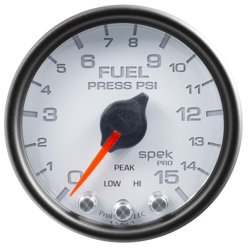 AutoMeter GAUGE; FUEL PRESS; 2 1/16in.; 15PSI; STEPPER MOTOR W/PEAK/WARN; WHT/BLK; SPEK