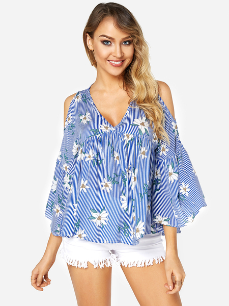 Yoins Random Floral Print Cold Shoulder Ruffle Hem Stripe Top