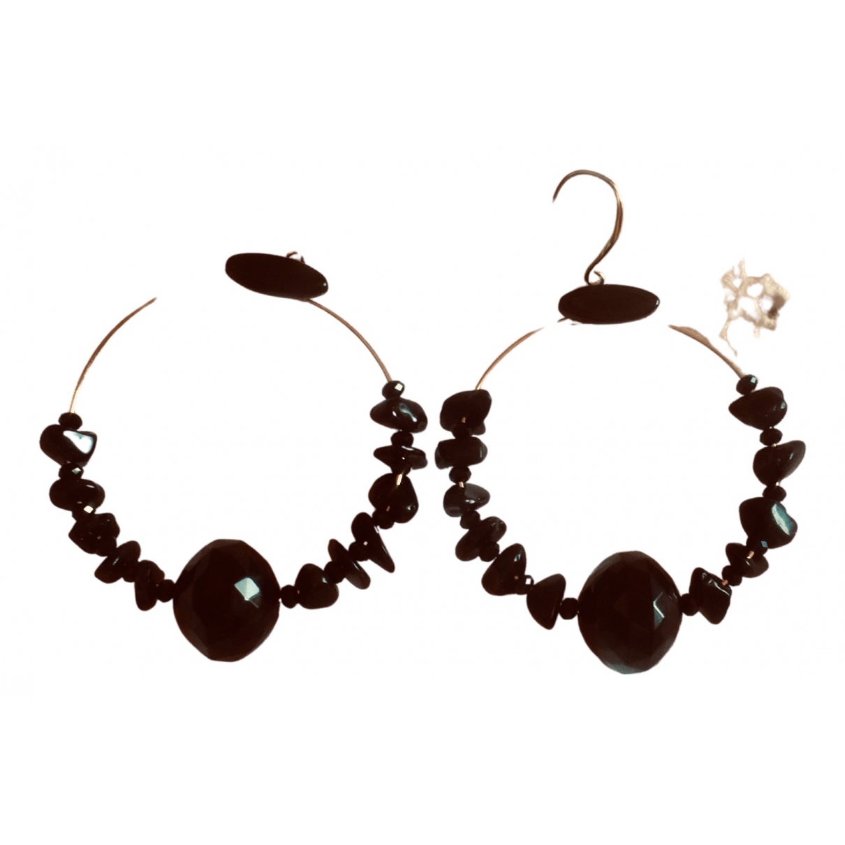 Non Signé / Unsigned Créoles Black Pearls Earrings for Women N