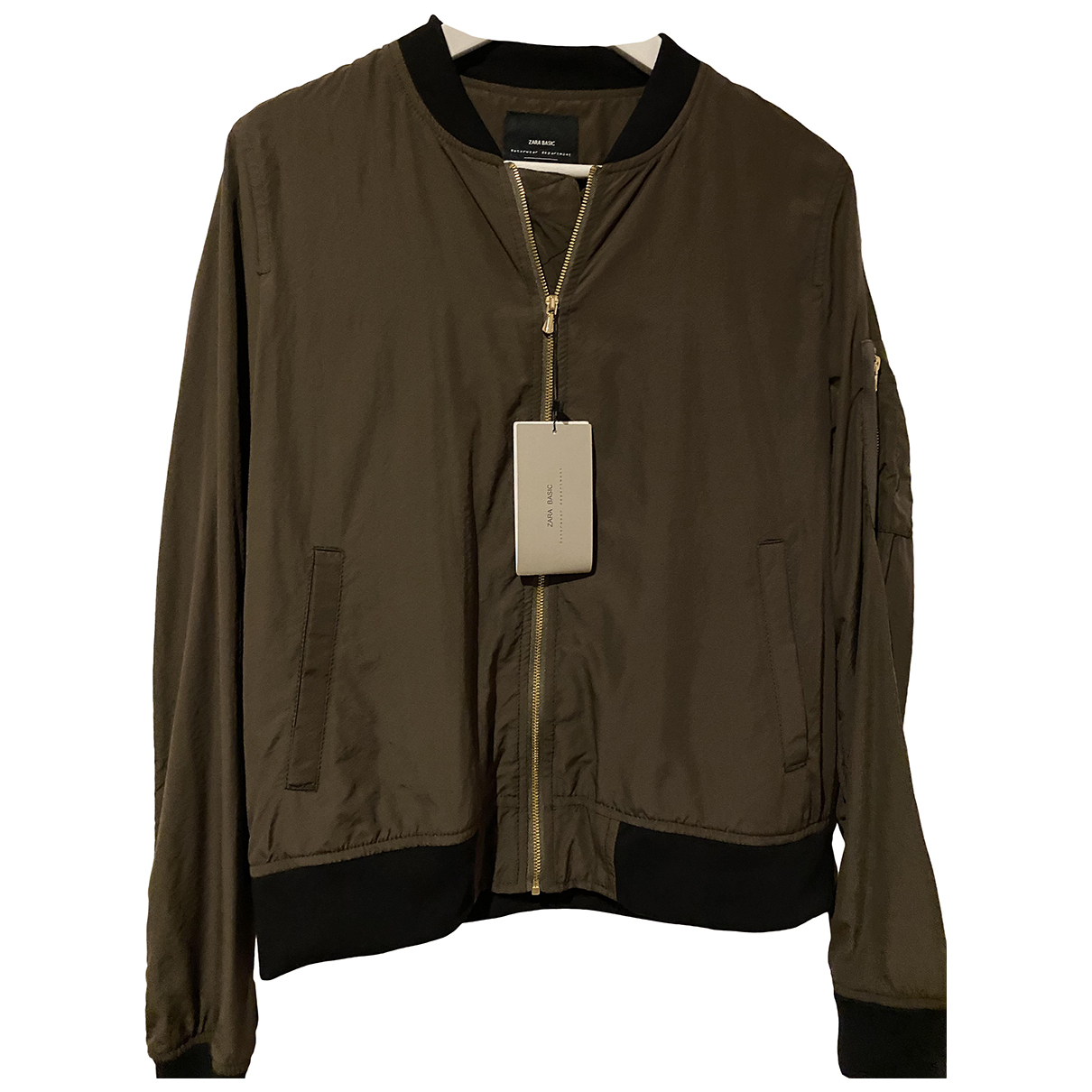 Zara \N Khaki Leather jacket for Women M International