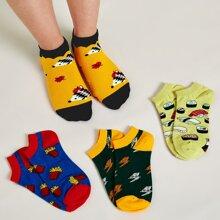4pairs Cartoon Graphic Socks