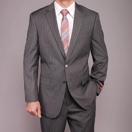 2 Button Grey Striped Suit Mens Cheap