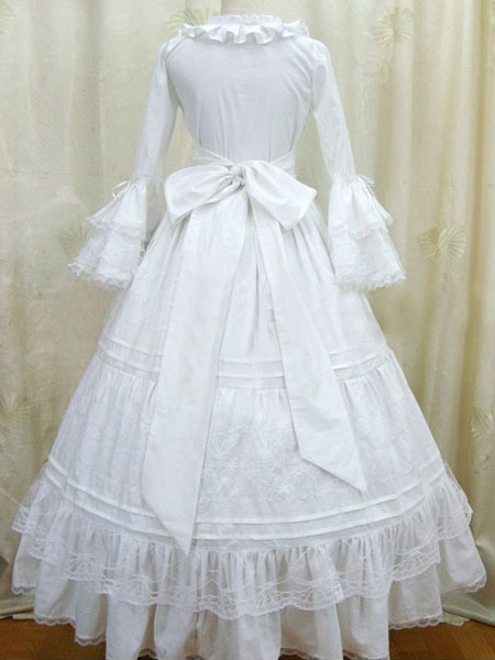Milanoo White Lolita Dress OP Victorian Era Long Sleeve Cotton Lolita One Piece Dress