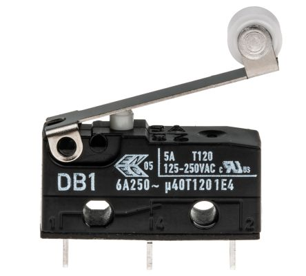 ZF SPDT-NO/NC Roller Lever Microswitch, 6 A @ 250 V ac