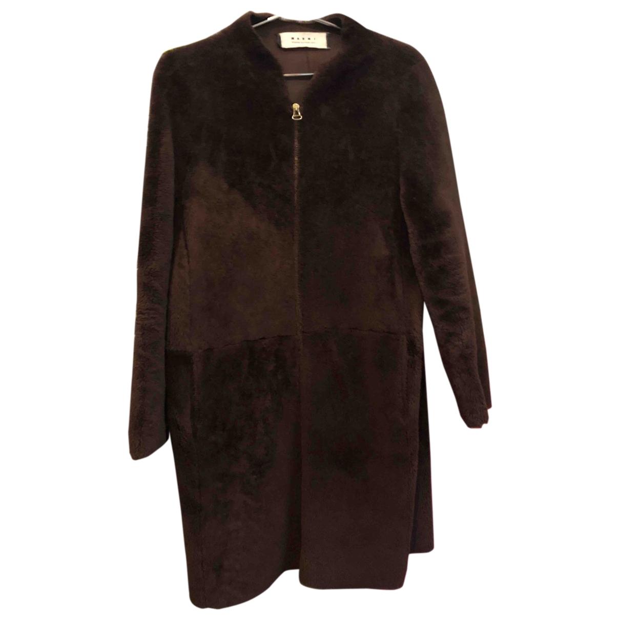 Marni - Manteau   pour femme en mouton - marron