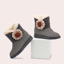 Floral Decor Plush Inside Boots