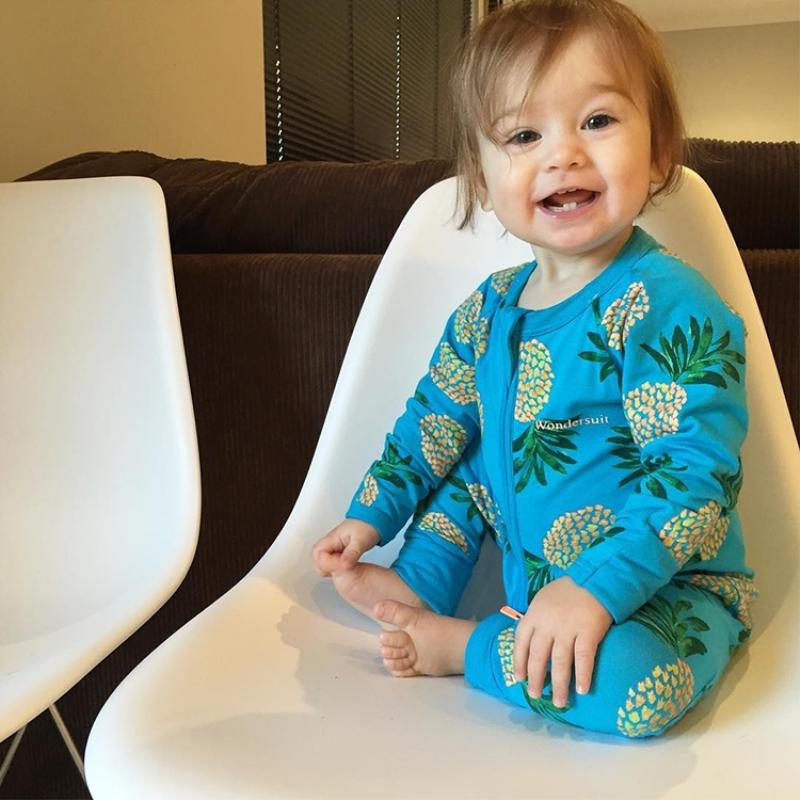 Blue Pineapple Pattern Long Sleeve Cotton Material Zipper Infant Jumpsuit/ Baby Bodysuit