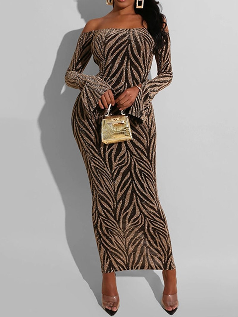 Ericdress Sequins Long Sleeve Off Shoulder Flare Sleeve Mid Waist Dress