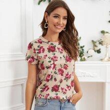 T-Shirt mit rundem Kragen und Blumen Muster