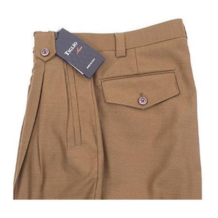 Mens Tabbed Belt Loops Pure Wool Tobacco Wide Leg Dress Pants