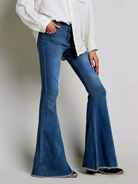 Milanoo Bell Bottom Jeans Women Flare Leg Denim Pants