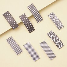 8pcs Plaid Pattern Hair Clip