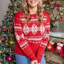 Plus Christmas Pattern Sweater