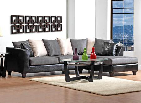 Sailor 424184-02S-SEC Sectional with Accent Pillows  Left Arm Facing Sofa  and Right Arm Facing Chaise in Jefferson Black  Sierra