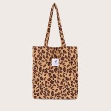 Bolso de compra de leopardo con letra