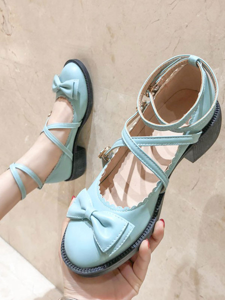 Milanoo Sweet Lolita Shoes Bows Round Toe PU Leather Lolita Pumps