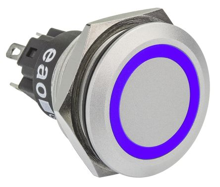 EAO Single Pole Double Throw (SPDT) Momentary Blue LED Push Button Switch, IP65, IP67, 22 (Dia.)mm, Panel Mount, 12V