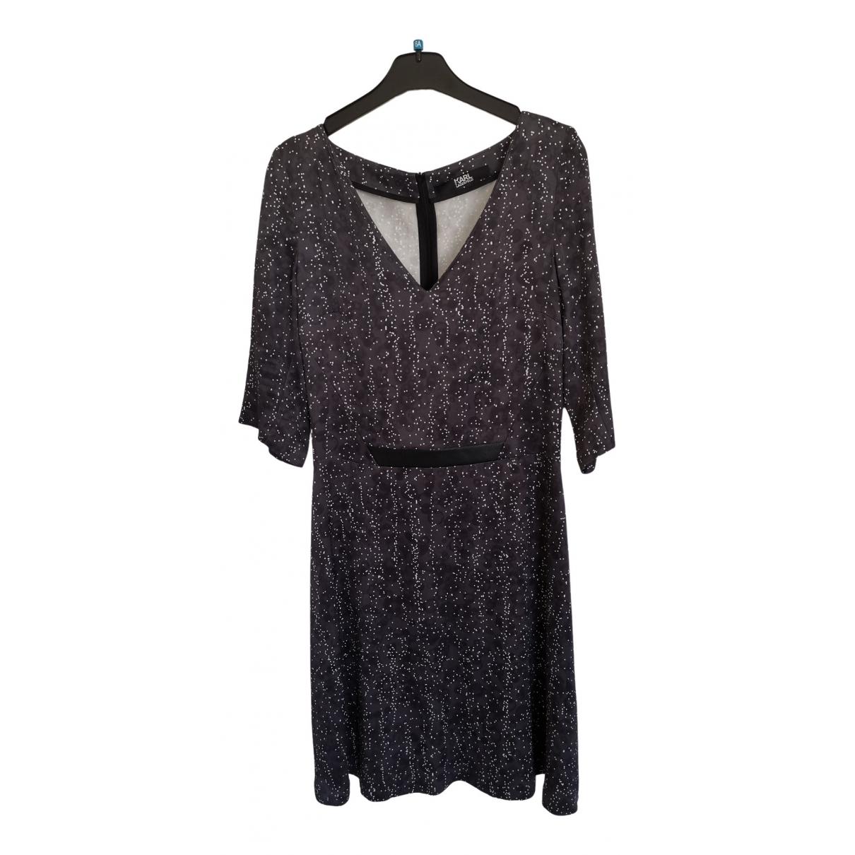 Karl Lagerfeld \N Kleid in  Anthrazit Viskose