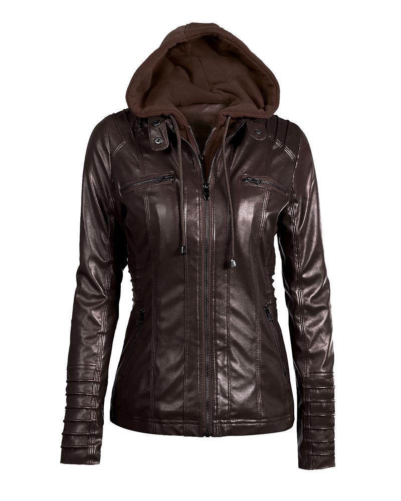 PU Straight Model Zipper Plain Casual Style Jacket
