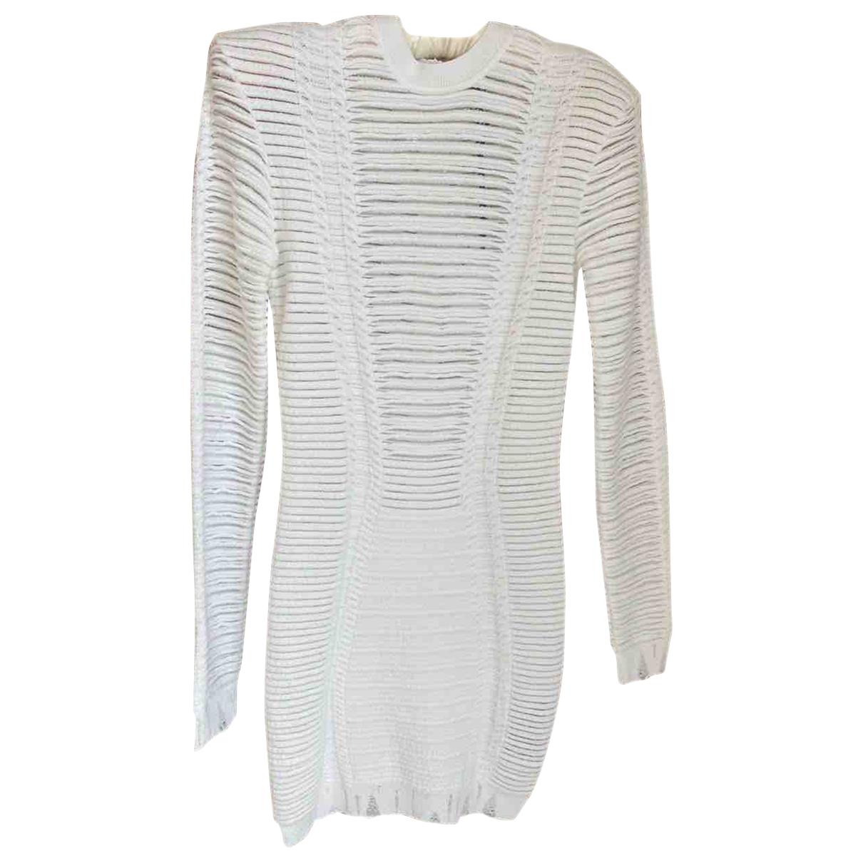 Balmain \N Kleid in  Weiss Tweed