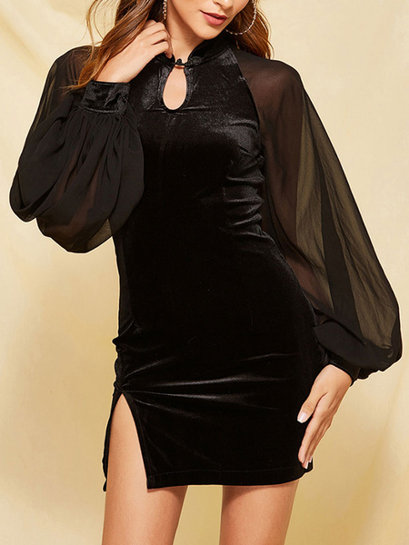 Milanoo Mini vestido sexy 2020 vestido de estilo china de terciopelo negro Vestido ajustado vintage de manga larga para mujer
