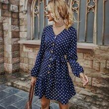 Polka Dot Button Front Ruffle Hem Belted Dress