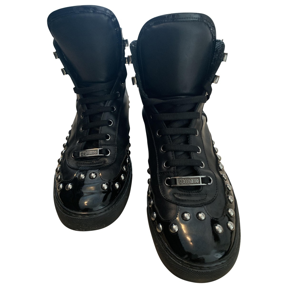 Galliano - Bottes.Boots   pour homme en cuir verni - noir