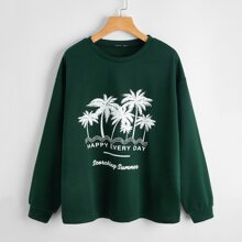 Drop Shoulder Letter & Tropical Print Sweatshirt