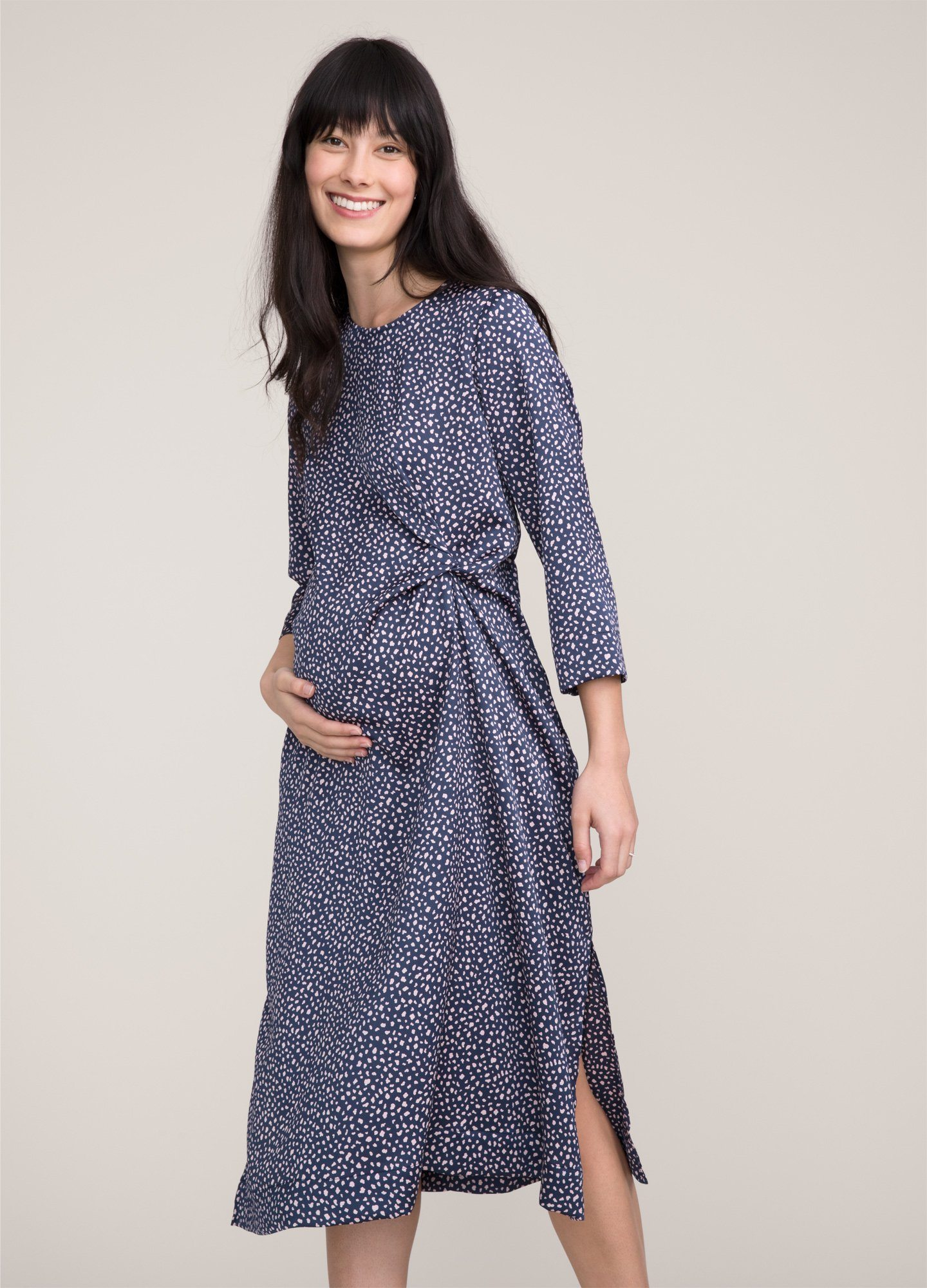 HATCH Maternity The Lauren Dress, navy Cheetah, Size 2