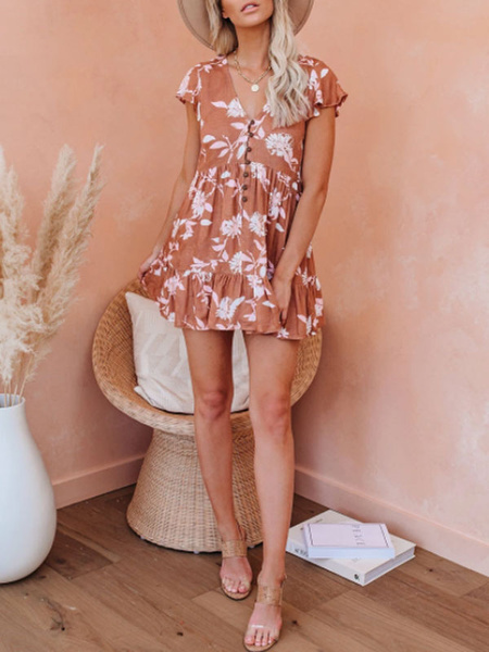 Milanoo Summer Dresses V Neck Buttons Floral Print Sundress